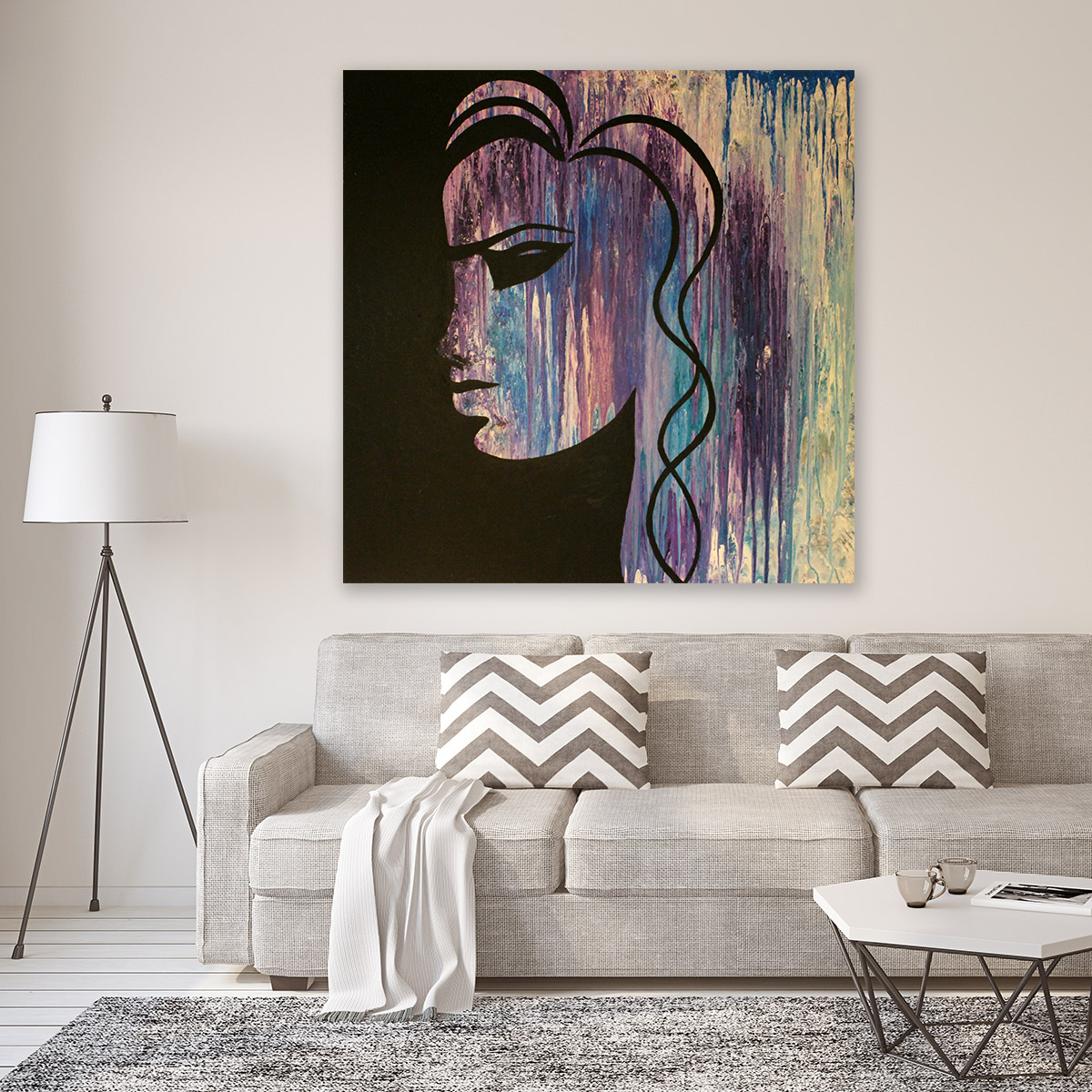 Abstract portret Kisou III in woonkamer