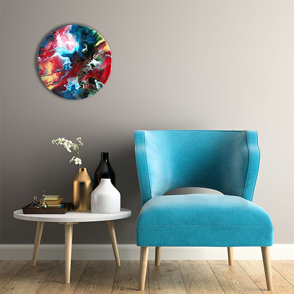 abstract rond schilderij psyched