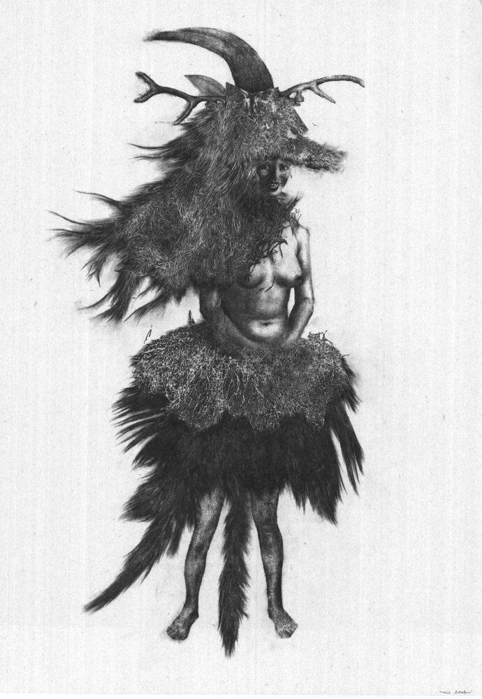 Marie Boralevi Femme Lointaine, 2012 graphite et technique mixte sur papier Japon 100 x 70 cm Dessin