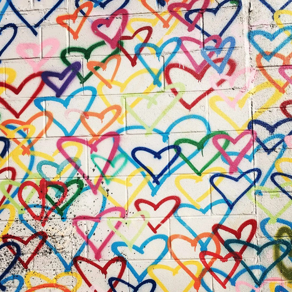 Mr. Brainwash Heart Wall graffiti hearts