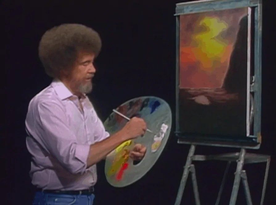 Bob Ross paints a painting Art World Roundup