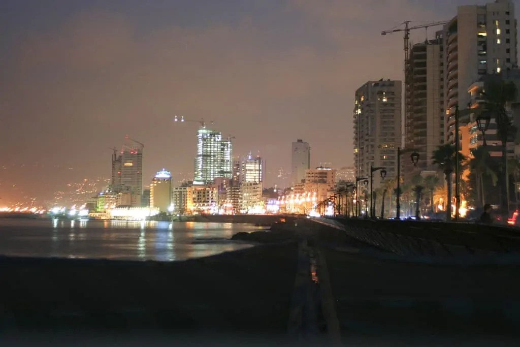 Nighttime view of the skyline of Beirut