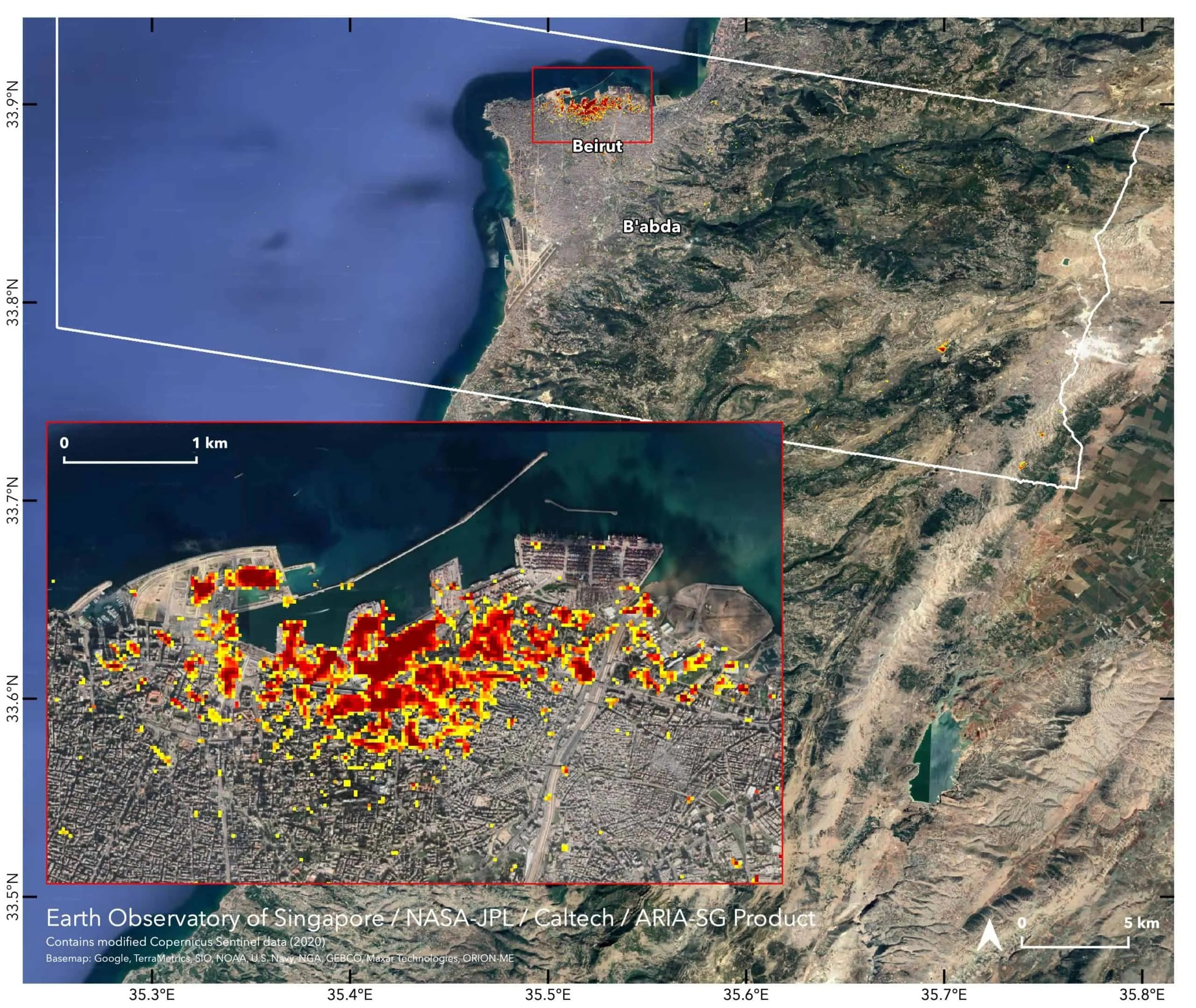 satellite image with indications of where explosions affected Beirut