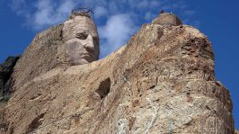 The Crazy Horse Memorial carved into a mountain
