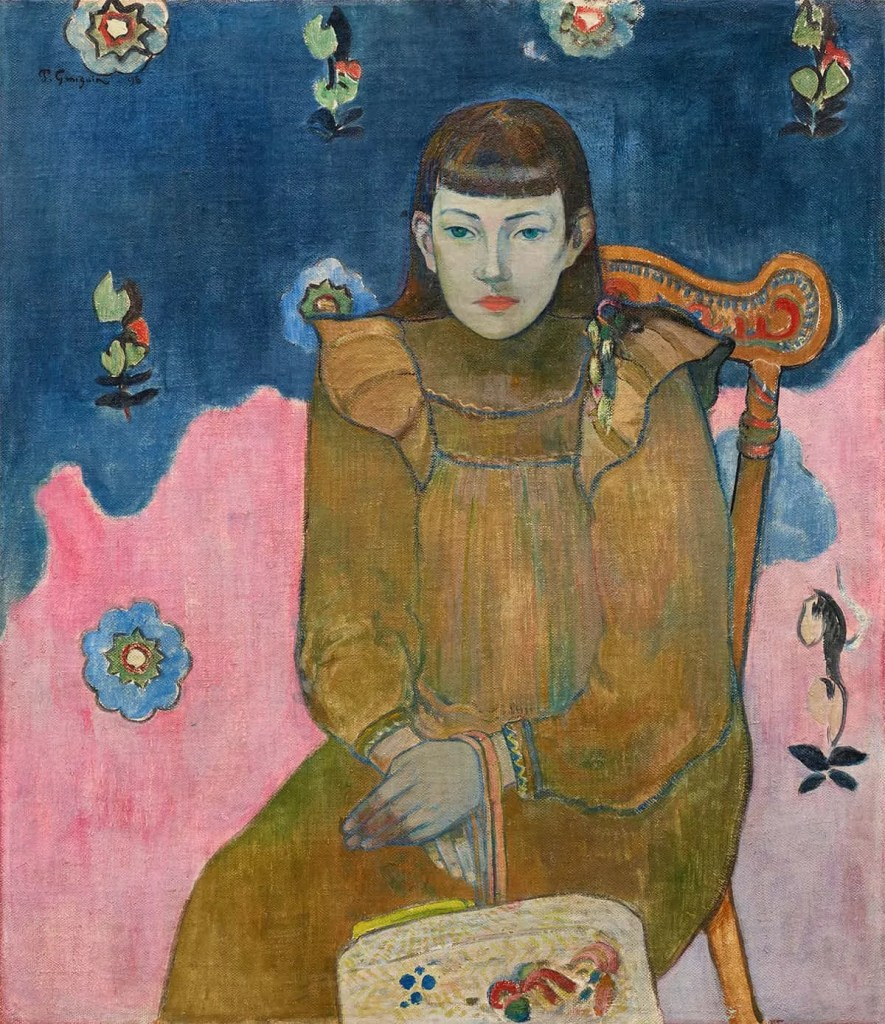 Painting of woman sitting in chair by Paul Gauguin