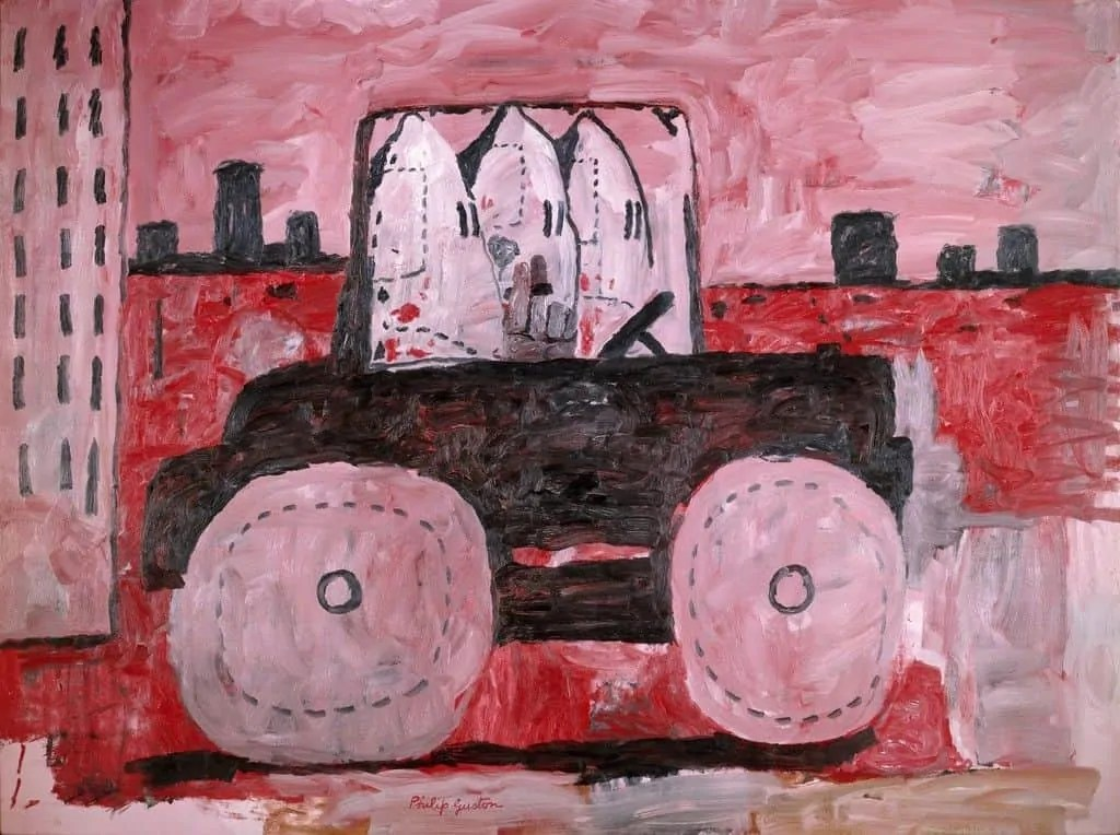 red black and white painting by Philip Guston