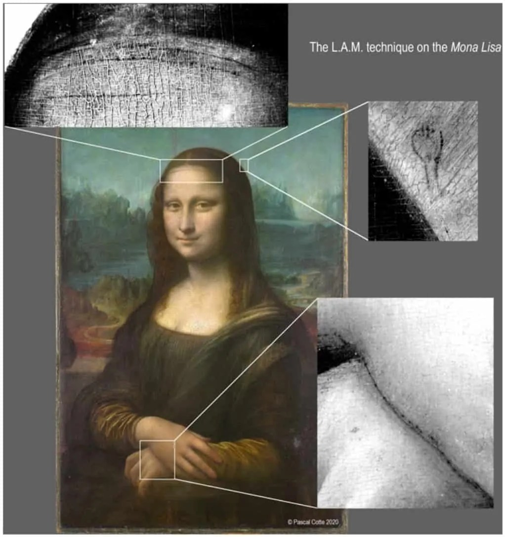 infradred images of the Mona Lisa showing underdrawings. Art World Roundup