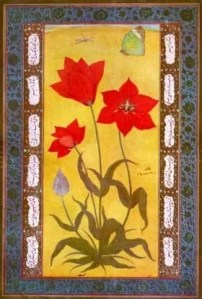 Painting of four red flowers against a gold background by Ustad Mansur