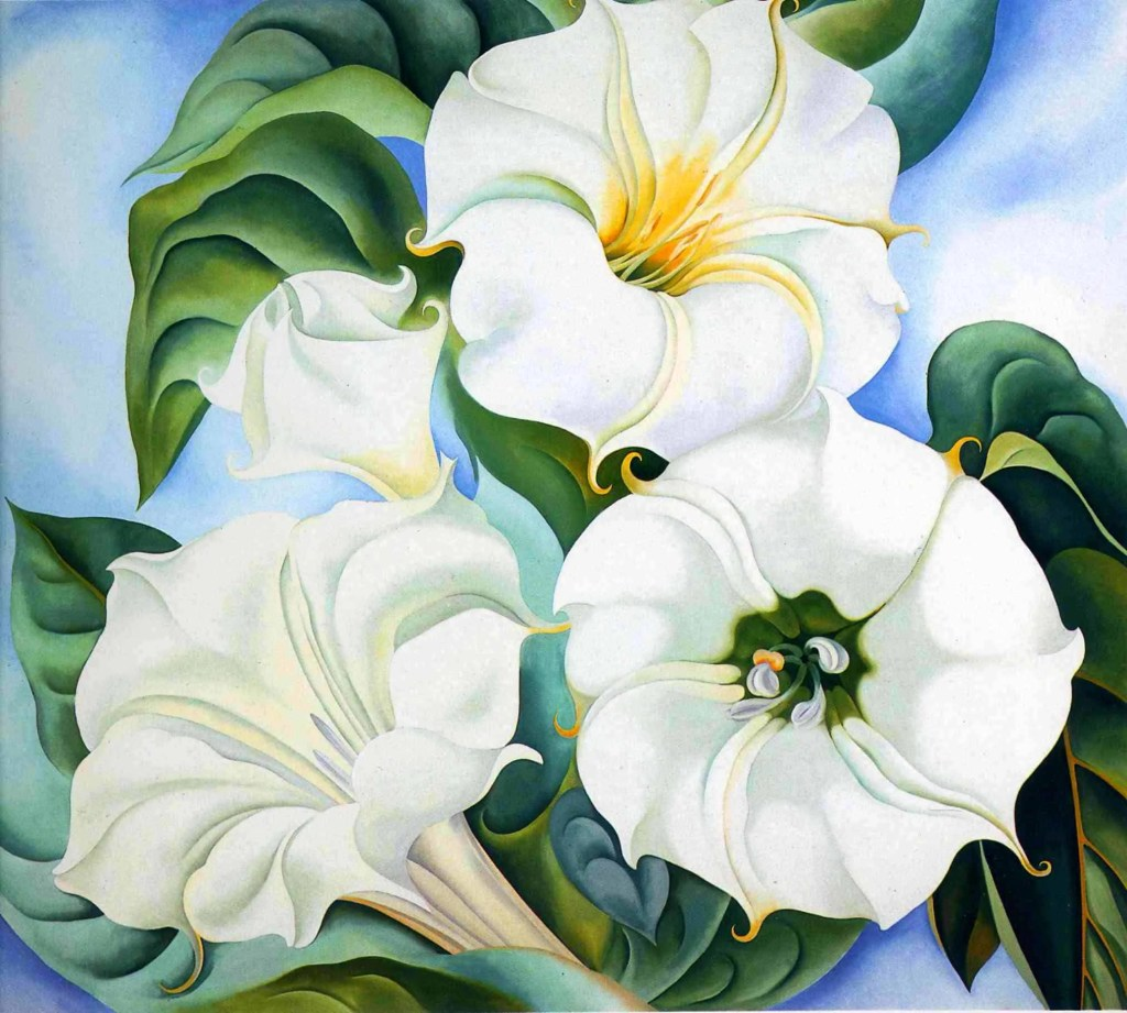 A painting of four Jimson Weed flowers against a blue background by Georgia O'Keeffe