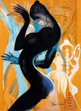 Black and orange stylized painting of a woman dancing by Ben Enwonwu presented during Frieze Week