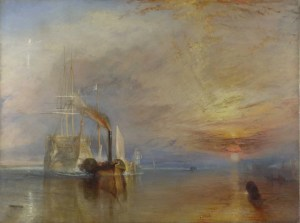 painting of a ship being pushed out to sea to be destroyed by JMW Turner
