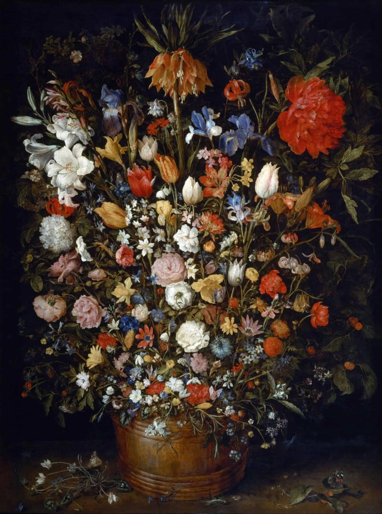 Detailed painting of wooden vase filled with lots of flowers painted by Jan Brueghel the Elder