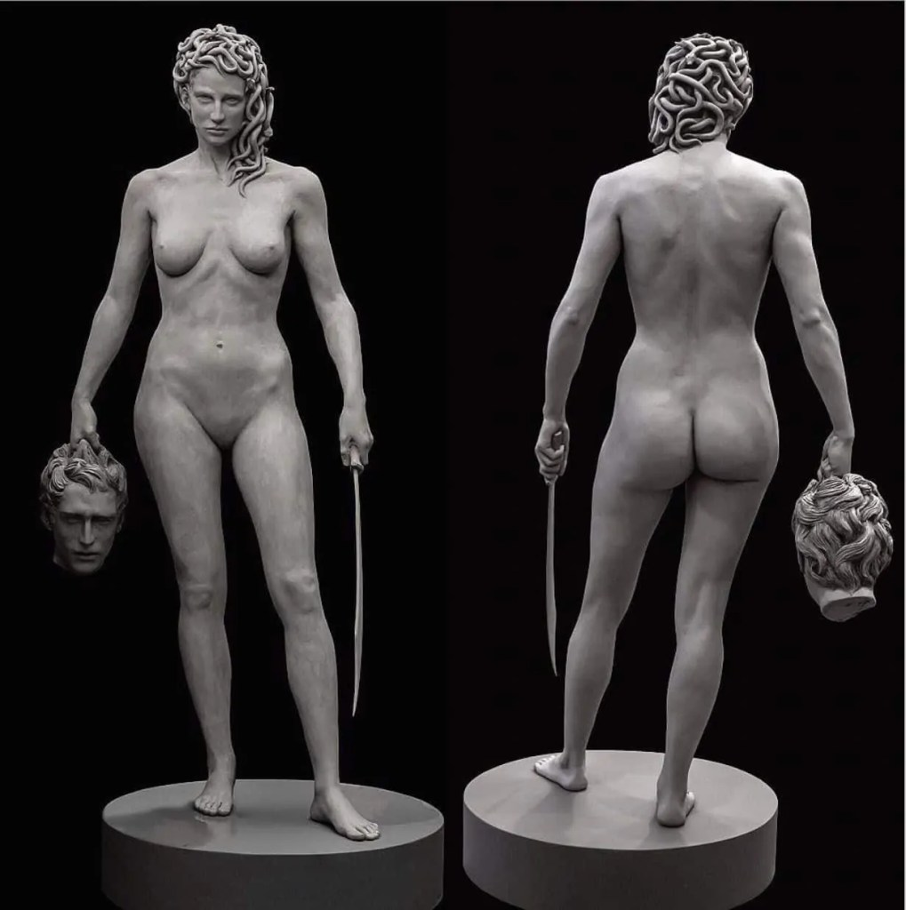 front and rear of statue of Medusa holding the head of Perseus created by Luciano Garbati. Art World Roundup