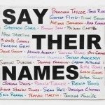 """Protest sign by Cardi B featuring the names of those who have been victims of police brutality. The sign will be part of """"Show Me the Signs"""""""