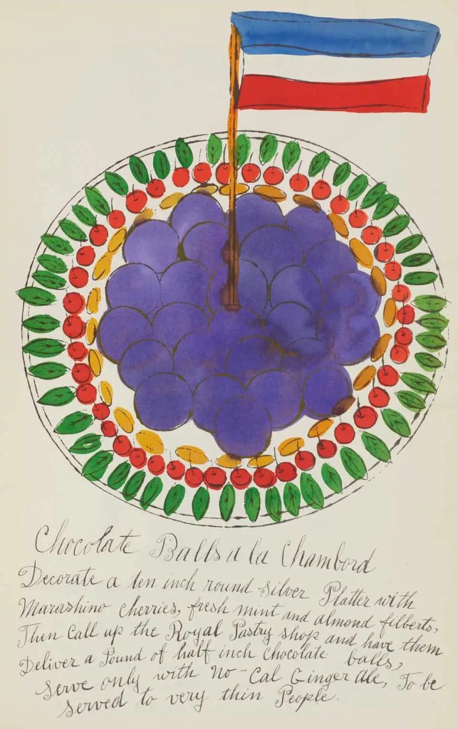 A bright illustration by Andy Warhol of a made up French dish