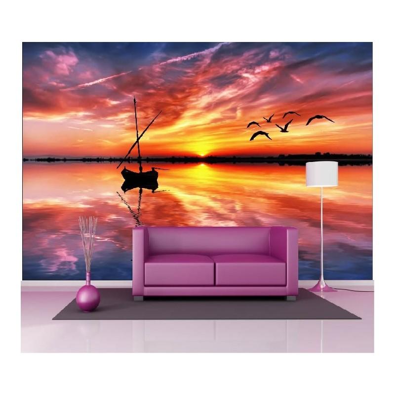papier peint geant deco couche de soleil mer barque 250x360cm art deco stickers