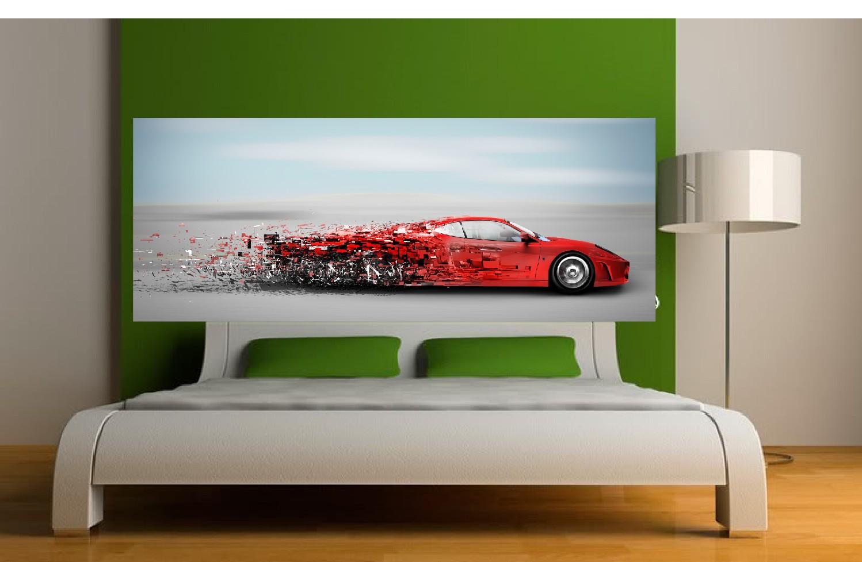 papier peint tete de lit voiture rouge art deco stickers