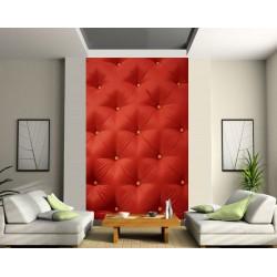 papier peint deco grande largeur design capitonne rouge art deco stickers