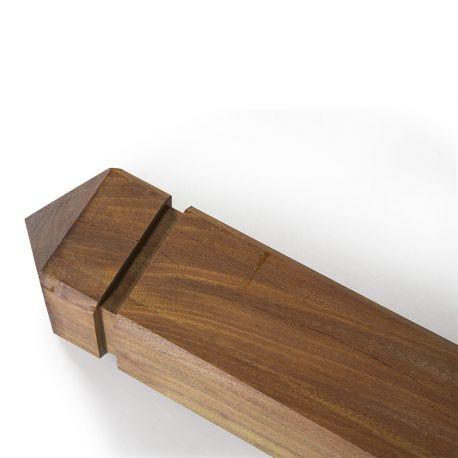 poteau bois exotique carre 9x9 cm pointe de diamant collstrop exo
