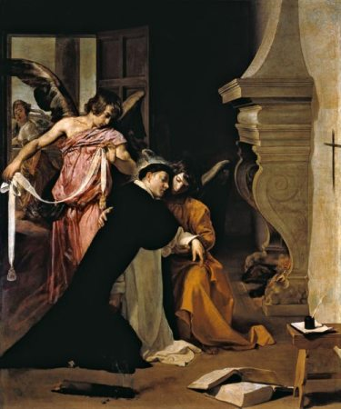 Temptation of St.Thomas Aquinas - Diego Rodriguez de Silva y Vel as art  print or hand painted oil.