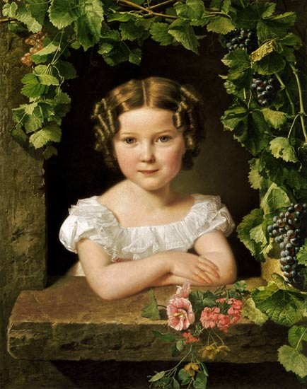 Ferdinand Georg Waldmüller - Little girl in one of wine leaves umrankten window