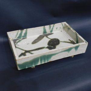 浜田庄司 白釉青流描角鉢