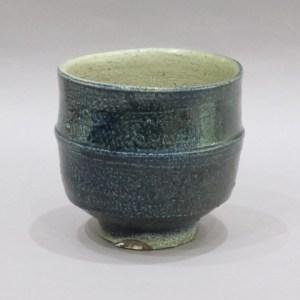 浜田庄司 藍塩釉胴紐茶碗