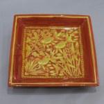加藤土師萌 黄地紅彩魚草文角鉢
