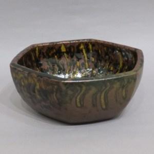 舩木研児 鉄釉六角鉢