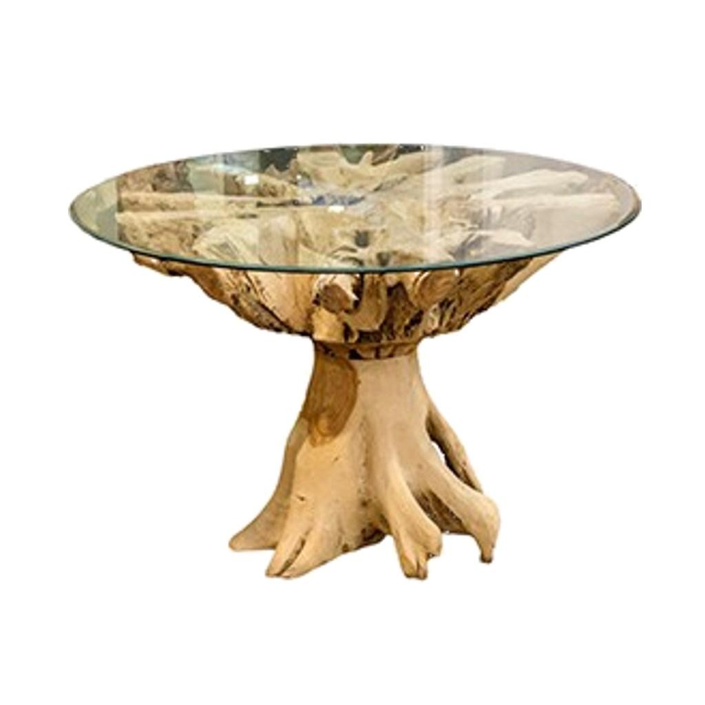 Table Walik look naturel ,bois érodé, plateau en verre.