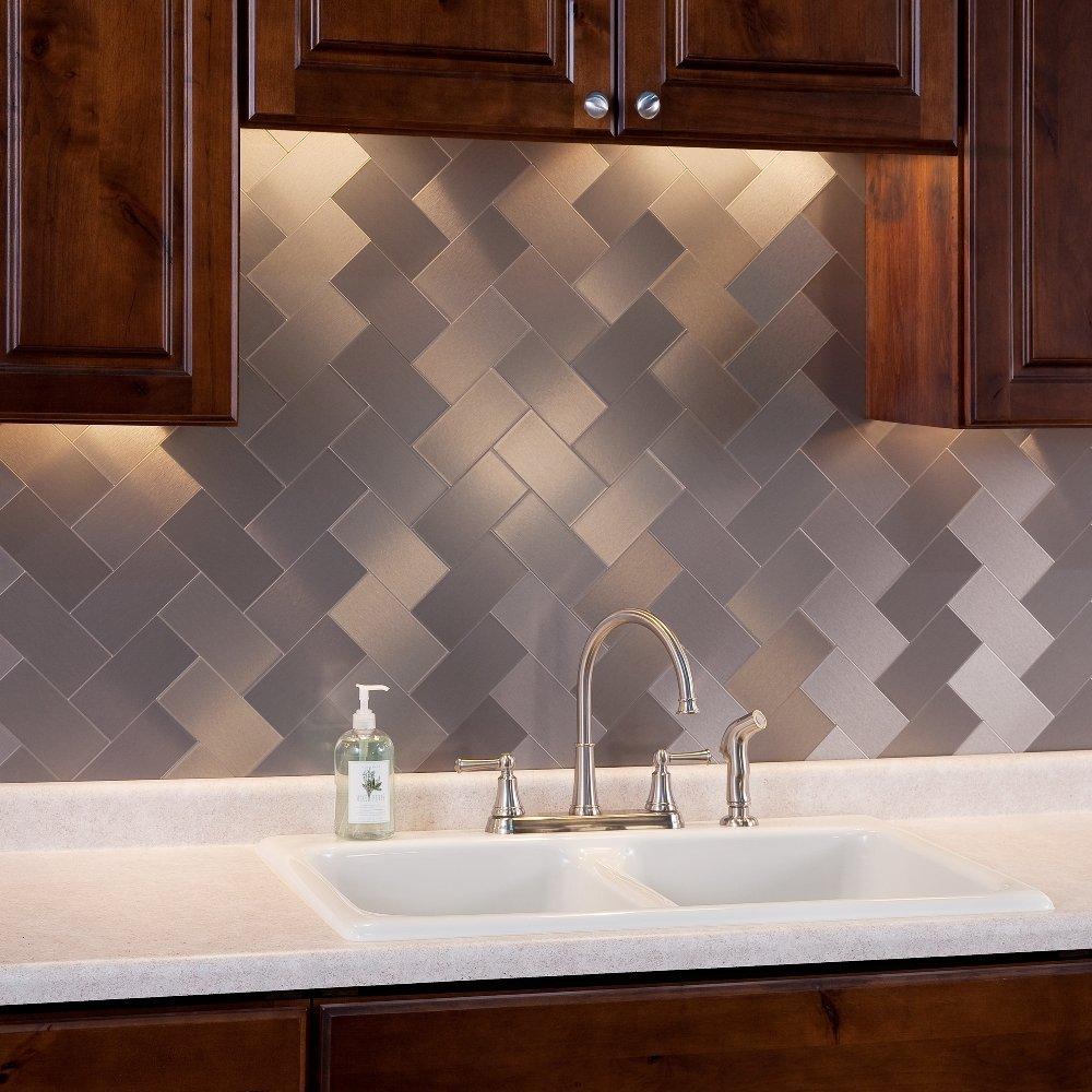 a16021p32 32 pcs peel and stick kitchen backsplash adhesive metal tiles for wall 3 x 6 subway tile