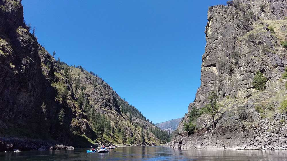 Floating beneath cliffs on the Main Salmon in Idaho