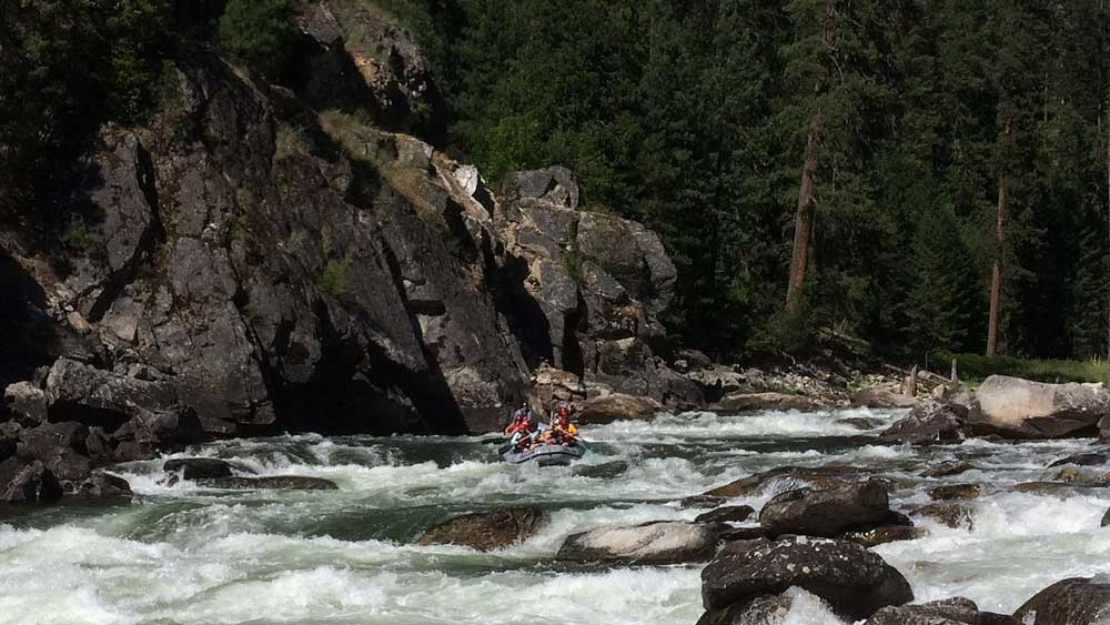 A paddle raft in Wolf Creek rapid on the Selway River in Idaho