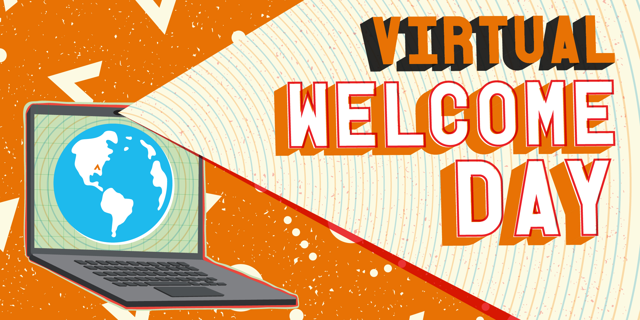 Image of a laptop with a light that say Virtual Welcome Day. Orange background with AAC pattern.