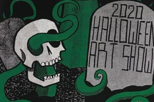 """A grave and a skeleton. The grave says """"2020 Halloween Art Show"""""""