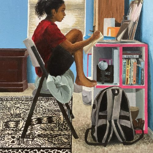 painting of girl at a desk