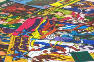 A collection of comic books.