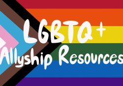 """Pride Flag with """"LGBTQ + Allyship Resources"""