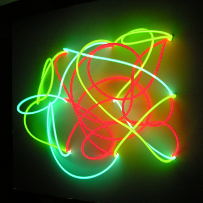 Antonio Barrese: Morphology, 2007 - Quadri elettroluminescenti, 60 x 60 x 30 cm.