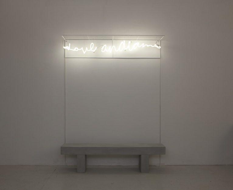 Vittorio Corsini, Dove andiamo? 2018.Neon, ferro, pietra, cm. 22x160 (neon), cm. 40x160x24 (pietra).