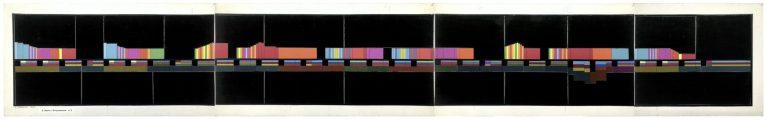 """LUIGI VERONESI, """"E. Satie Gnossienne n.2"""", 1979, collage, inchiostro di china e tempera su cartoncino, 33x219 cm - Courtesy Galleria 10 A.M. Art, Milano."""