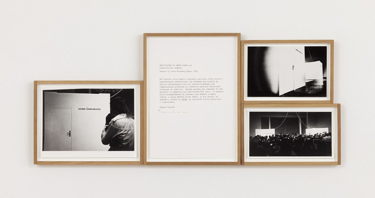 Franco Vaccari, Esposizione in Tempo Reale num.5, Comunicazione segreta/Exhibition in real time N.5, Secret communication, 1973, 18 fotografie b/n, testo/b/w photographs, text, cm.92x122 totale/overall (stampato nel/printed in 2014) Courtesy the artist and P420, Bologna