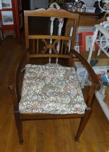 Inlaid wood hall or bedroom chair