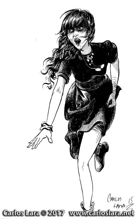 Run Lola Run - Ink Drawing