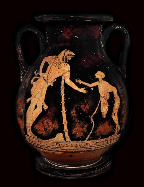 vaso etrusco con raffigurati eracle e geras