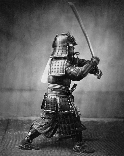samurai armato fotografato da felice beato