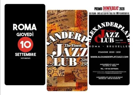 Giovedi 10 settembre riparte la programmazione del più antico Jazz Club d'Italia, l'ALEXANDERPLATZ JAZZ CLUB