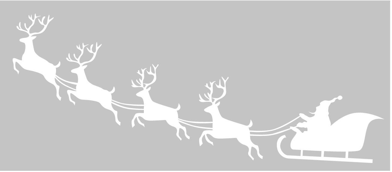 Santa Sleigh Window Cling Art Amp Sea Sleigh And Reindeer