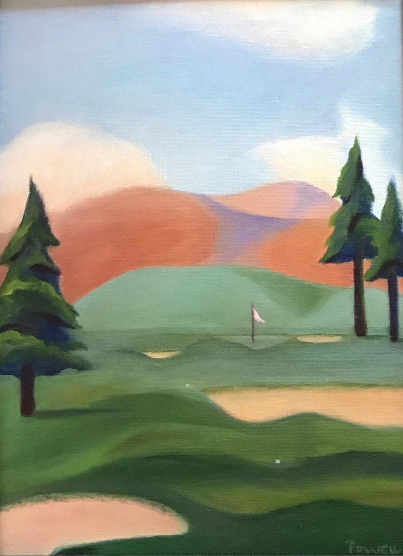 "SOLD: ""Golf Dream #1"", Oil on Board, 12"" x 16"""