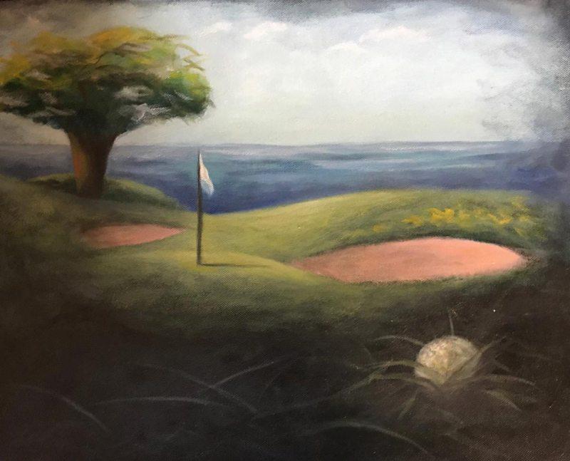 """Golf Dream #2"", Oil on Canvas, 14"" x 18"""